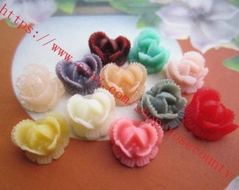Wholesale 100pcs 10mm assorted(11 colors) resin rose flower Cabochons/cameos