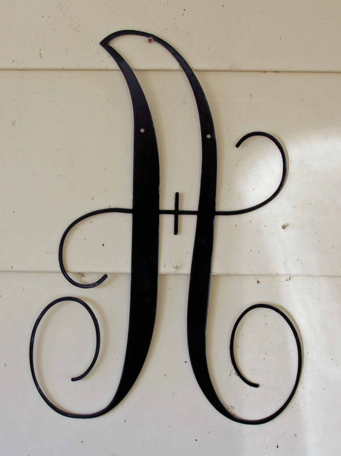 22 inch black script metal letter a door or wall hanging for Large letter j for wall