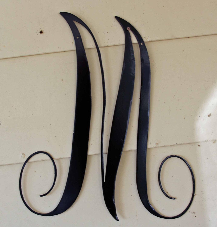 22 inch black script metal letter m door or wall hanging for 3 inch black metal letters