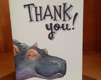 Thank You Happy Smiling Hippo Card