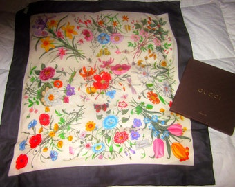 "GUCCI Vintage SILK CHIFFON floral scarf rarely/never worn in box 34"" square Italy"