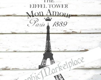 French Eiffel Tower Paris Instant Download French Shabby Transfer Burlap digital graphic printable No. 719