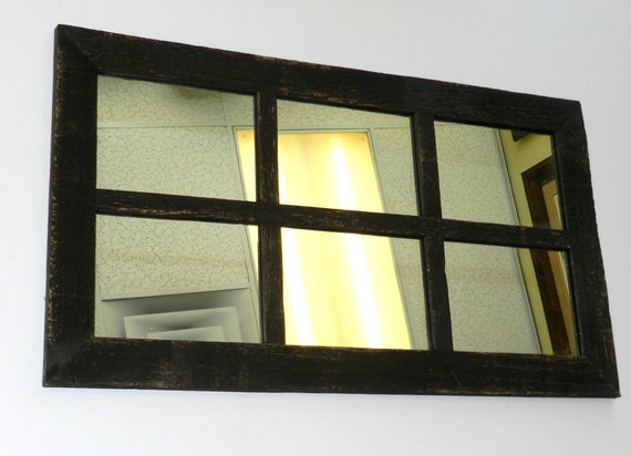 Sale antique barnwood window mirror 16x28 6 panes from for Window mirrors for sale