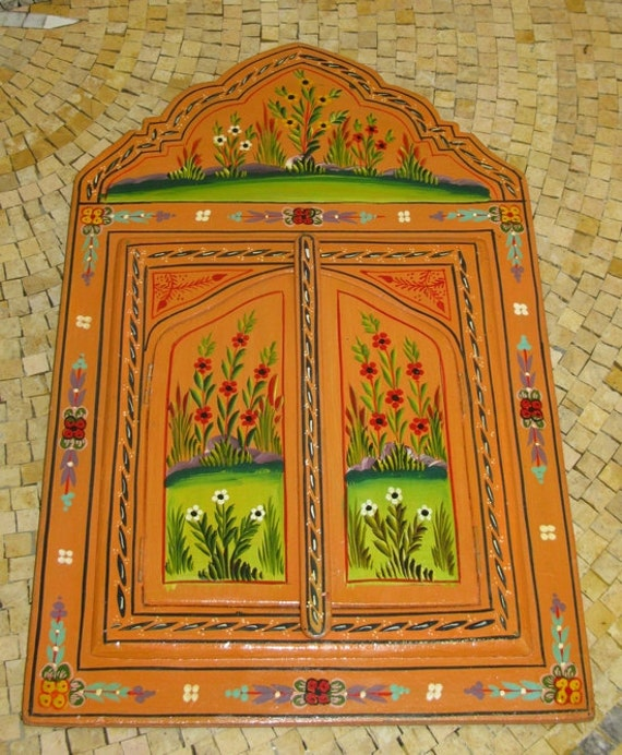 Moroccan Hand Painted Mirror With Doors