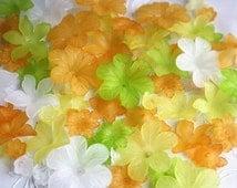 100pcs autumn mint green orange yellow white flower lucite beads jewellery making craft accessory, diy materials, handcraft mix lot acrylic