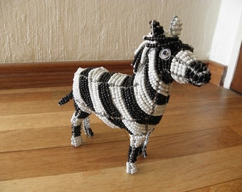 African Beaded Wire Animal Sculpture - ZEBRA MEDIUM SMALL - White and Black