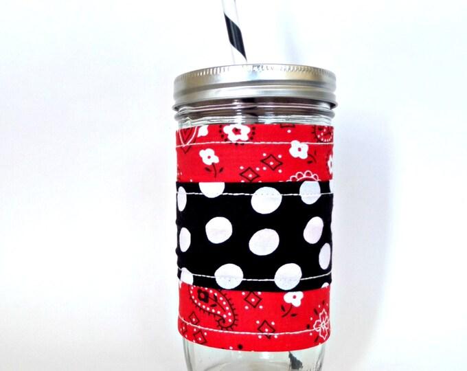 Red Bandana and Polka Dot  24oz Mason Jar Cup Tumbler  Insulated Fabric Cozy w BPA Free Straw - Travel Mug Great Gift