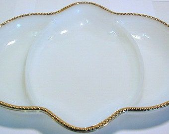 Vintage Anchor Hocking Fire-King gold trim milk glass divided relish dish