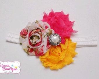 Vintage Floral Shabby Headband Baby Girl Shabby Floral Headband yellow & hot pink headband
