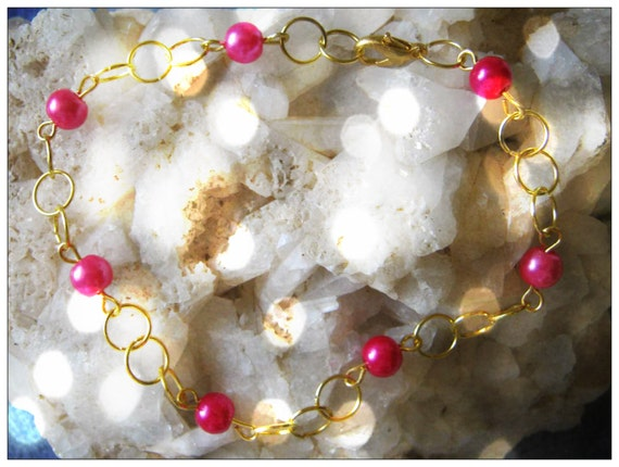 Handmade Gold Bracelet with Pink Pearls by IreneDesign2011
