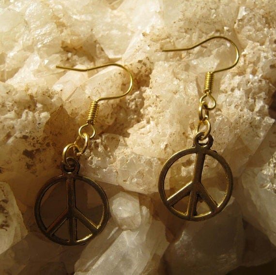 Handmade Gold Hook Earrings with Peace by IreneDesign2011