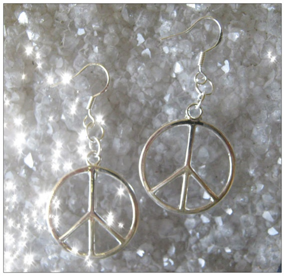 Handmade Silver Hook Earrings with Peace by IreneDesign2011