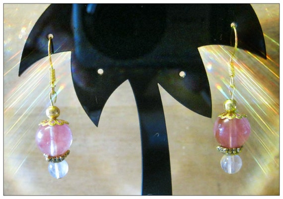Handmade Gold Earrings with Strawberry Quartz & Rock Crystal by IreneDesign2011