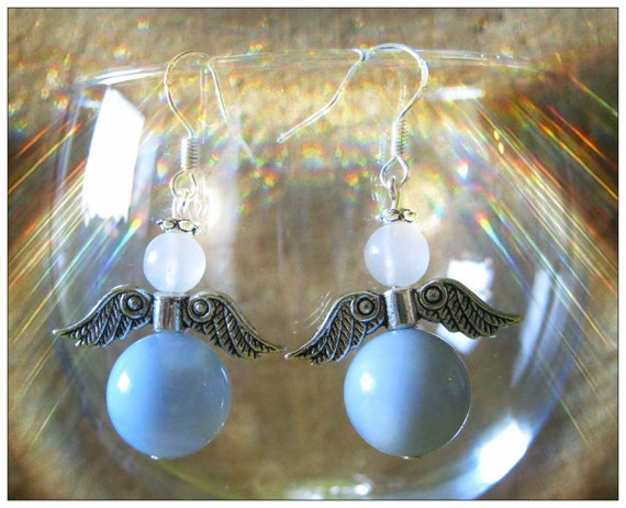 Silver Guardian Angel Earrings with Lace Agate & White Opal
