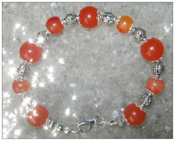Beautiful Handmade Silver Bracelet with Orange Topaz