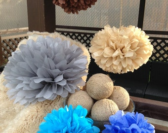 set of 40 tissue paper pompoms-hanging pompoms-party pom-wedding pompoms-nursery pom poms-birthday decoration pom poms-paper poms