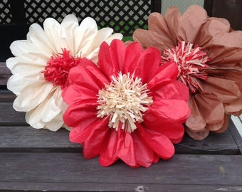 Set of 3   giants tissue paper flowers pom poms 2 in 1 -birthday party-paper flowers-home decor-party decoration-anniversary-pom poms