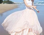 Nude Pink Chiffon skirt Maxi Skirt Long Skirt  Wedding Skirt Large size skirt Party Skirt Summer Pleat skirt Beach Skirt plus size dress