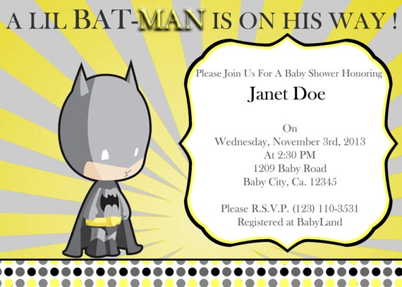 print your own little batman baby shower invitation by atom design