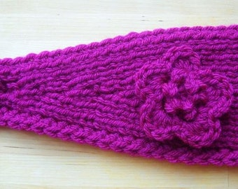 Knitting Pattern Headband With Crochet Flower Headwrap