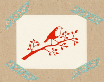 Stamp Robin / natural rubber on wooden cube 3x3 cm