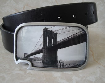 Brooklyn Bridge belt buckle - with built-in bottle opener