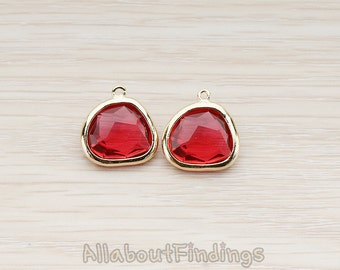 FST122-G-RU // Glossy Gold Plated Larger Nugget Framed Ruby Stone Pendant, 2 Pc