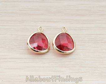 FST850-02-G-RU // Glossy Gold Plated Rounded Framed Ruby Stone Pendant, 2 Pc