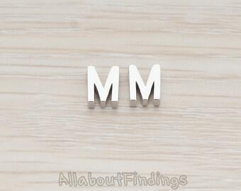 PDT198-M-MR // Matte Original Rhodium Plated 3D Initials Pendant, 2 pc