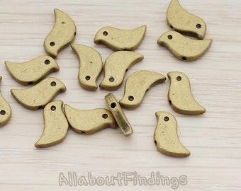 BDS900-AB // Matte Atique Brass Plated Mini Bird Metal Bead, 4 Pc