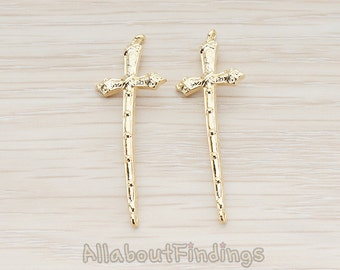 CNT056-G // Glossy Gold Plated Gothic Cross Connector, 2 Pc