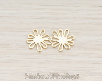 PDT327-MG // Matte Gold Plated Cosmos Flower Pendant, 2 Pc