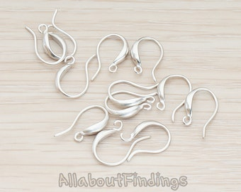 ERG664-MR // Matte Original Rhodium Plated Curved French Earwire, 6Pc