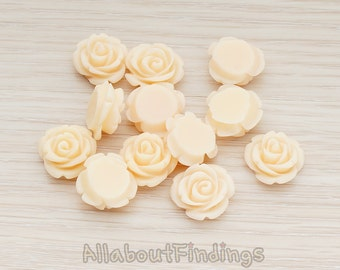CBC141-AP // Apricot Colored Small Curved Petal Rose Flower Flat Back Cabochon, 6 Pc