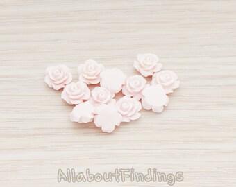 CBC157-04-LP // Light Pink Colored XSmall Angelique Rose Flower Flat Back Cabochon, 8 Pc