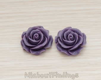 CBC157-06-PU // Purple Colored XLarge Angelique Rose Flower Flat Back Cabochon, 2 Pc