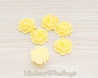 CBC503-BU // Butter Colored Flat Rose Flower Back Cabochon, 6 Pc