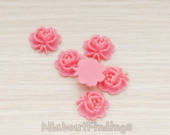 CBC503-HP // Hot Pink Colored Flat Rose Flower Back Cabochon, 6 Pc