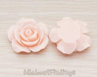 CBC157-07-LP // Light Pink Colored 35mm Angelique Rose Flower Flat Back Cabochon, 2 Pc
