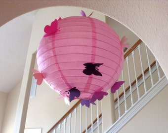 "10"" pink princess, paper lantern, hanging lantern, wedding lantern, butterfly lantern, princess party, princess birthday, butterfly party"
