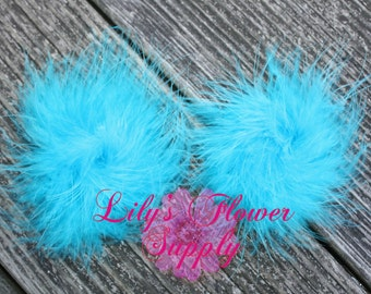 Marabou Feather Puffs - Set of 2 - Aqua - Feather Puff