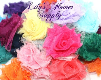 Grab Bag Petite Shabby Flowers - Shabby Rose trim - Solid - Shabby Flower Rose Trim - Chiffon Flower - Shabby Chic - Rose Trim