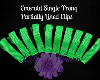 Emerald Lined Clips - Single Prong - Partially Lined Clips - Alligator Hair Clips - Set of 10 - 45 mm