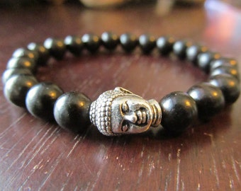 Black Ebony and Buddha Bracelet, Yoga Bracelet, Yoga Jewelry, Meditation Bracelet, Energy Bracelet, Wood, Reiki, Mala, Ebony Bracelet