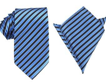 Matching Necktie + Pocket Square Combo Striped Blue Black Tie New (X149-T85+PS) Men's Handkerchief + Neck Tie 8.5cm Ties Neckties Wedding