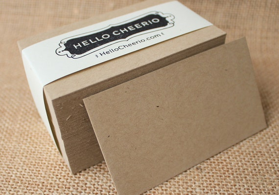 Thick Speckled Kraft Blank Business Cards Set of 100