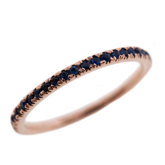 Micro Pave Set Blue Sapphire Eternity Wedding By GetDiamondsDirect