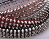 "1-3/4"" (45mm) wide Genuine Leather Belt with 3 rows 1/2"" (13mm) UK/77 British/English Apex Cone Studs Silver/Chrome Studded Spiked USA NYC"