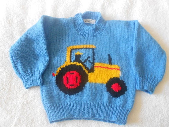 Knitting Pattern Tractor Jumper : Tractor jumper hand knitted 100% acrylic DK. Blue jumper with