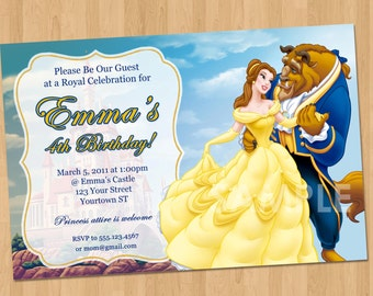 Beauty and the Beast Invitation - Princess Belle Party Invitation - Custom Personalized Beauty and the Beast Party Birthday Invite Disney